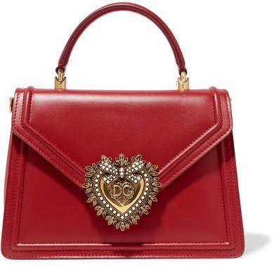 Devotion Small Embellished Leather Tote - Red