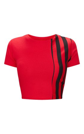 Red Stripe Panel Round Neck Crop Top | Tops | PrettyLittleThing