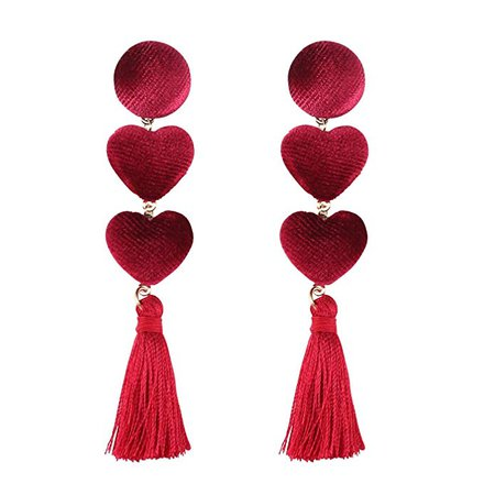 Red Heart Tassel Earrings, Velvet Double Heart Shape Fringe Drop Earrings Christimas Gift, Red with Gift Box: Clothing