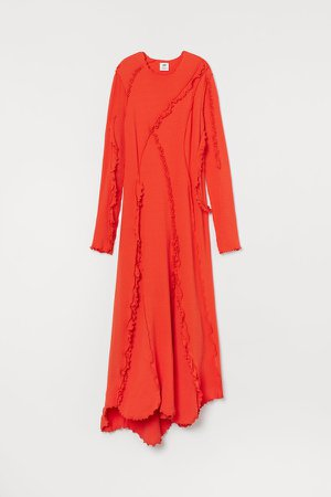 Ruffle-trimmed Jersey Dress - Orange