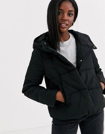 Pimkie puffer short jacket in black | ASOS