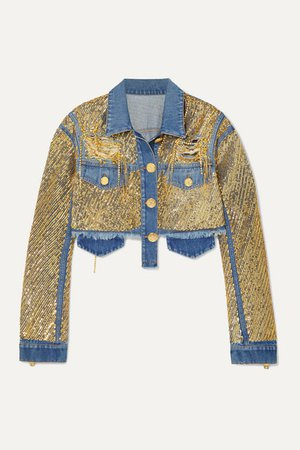 Cropped Embellished Distressed Denim Jacket - Blue