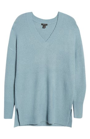 Halogen® Cozy V-Neck Tunic Sweater | Nordstrom