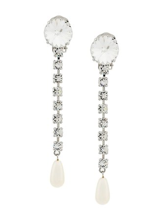 long crystals & pearls earrings