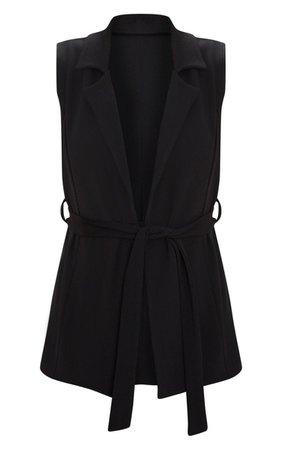 Black Sleeveless Belted Blazer | PrettyLittleThing USA