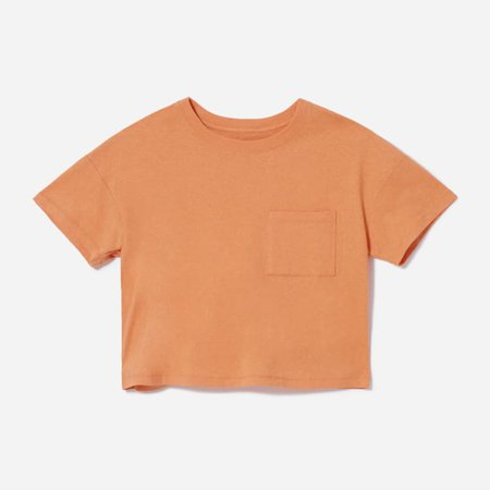 Women's ReCotton Cropped Pocket Tee   Everlane orange