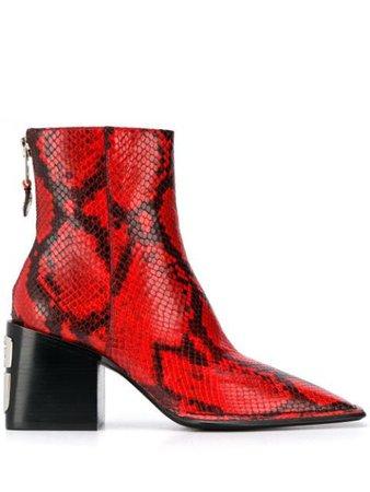Alexander Wang Snakeskin Pattern Ankle Boots Aw19 | Farfetch.com