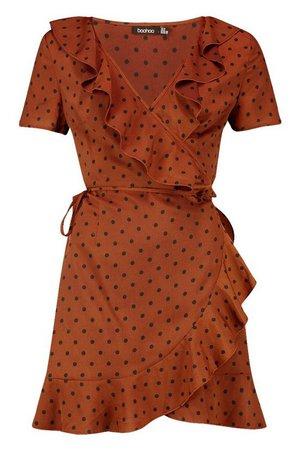 Ruffle Wrap Polka Dot Tea Dress | Boohoo brown
