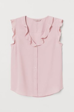 Crêped Flounced Blouse - Light pink - Ladies | H&M US