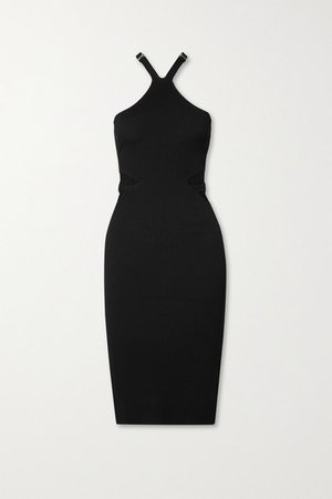 Cutout Ribbed-knit Dress - Black