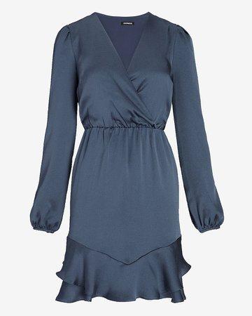 Satin Ruffle Hem Wrap Front Dress | Express