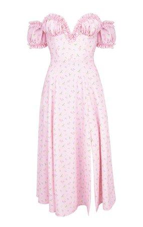 Clothing : Maxi Dresses : 'Lauren' Pink Floral Strapless Midi Sundress