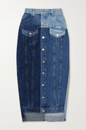 Frayed Patchwork Denim Midi Skirt - Blue