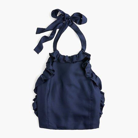 Collection silk ruffle wrap halter top : Women tank & cami | J.Crew