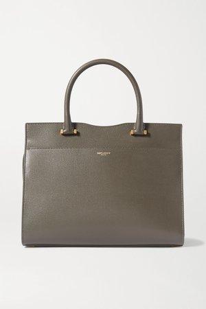 Dark gray Uptown leather tote   SAINT LAURENT   NET-A-PORTER