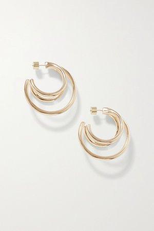 Gold Triple Lilly gold-plated hoop earrings | Jennifer Fisher | NET-A-PORTER