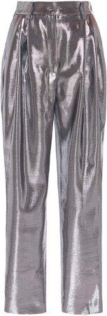Alberta Ferretti High-Rise Metallic Lame Pants