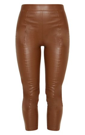 Chocolate Daysha Cropped Faux Leather Trousers | PrettyLittleThing