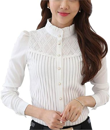 Womens Vintage Collared Button Down Shirt Long Sleeve Lace Stretch Blouse White 6 at Amazon Women's Clothing store
