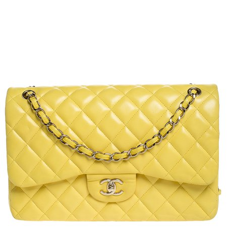 Chanel Yellow Quilted Leather Jumbo Classic Double Flap Bag Chanel | TLC