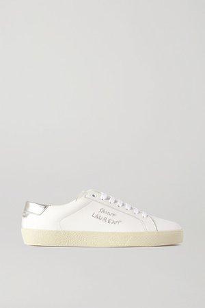 Court Metallic Logo-embroidered Leather Sneakers - White
