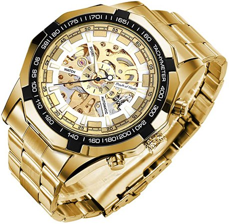 Amazon.com: Mechanical Skeleton Watch, Big Face Automatic Watches for Men, Unique X Dial Luminous Mens Sport Watches, Waterproof Analog Business Wrist Watches with Stainless Steel Watch Bands, Gold: Clothing