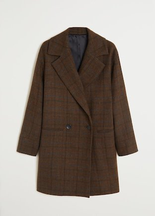 Checked structured coat - Women | Mango United Kingdom