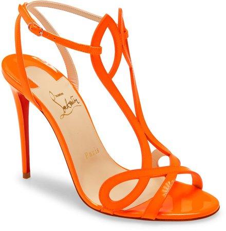 Double L Fluorescent Patent Leather Sandal