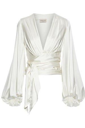Off-white Gathered silk-blend satin wrap blouse | ALEXANDRE VAUTHIER