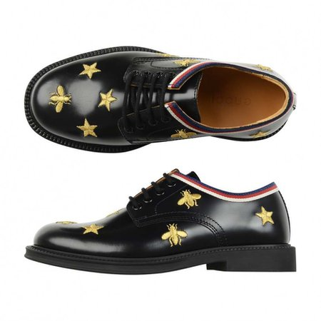 GUCCI Black Leather Bee & Star Shoes - Boy - Gender - Shoes