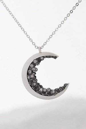 Amazon.com: Silver Plated Crescent Moon Encrusted with Black Crystals Jewels Long Necklace: Handmade
