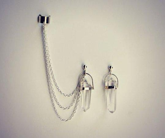 silver quartz ear cuff earrings chain ear cuff