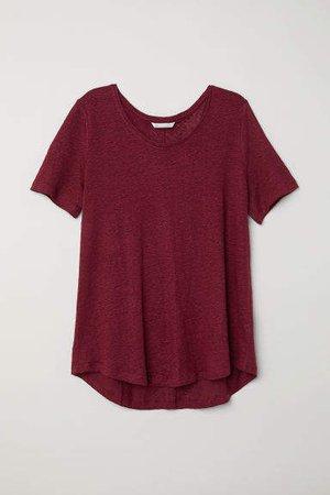 Linen Scoop-neck Top - Red