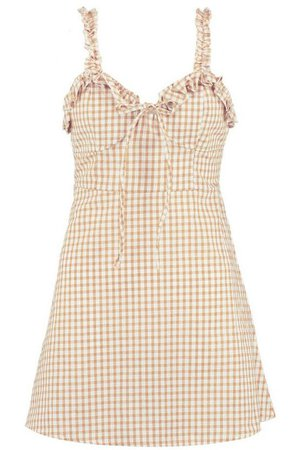 Ruffle Shoulder Gingham Mini Dress   Boohoo