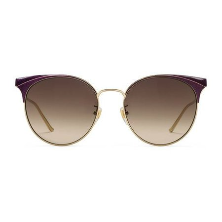 Round-frame metal sunglasses in Shiny gold guilloché metal frame with purple enamel details | Gucci Women's Cat Eye
