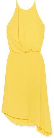 Asymmetric Draped Crepe Dress - Yellow