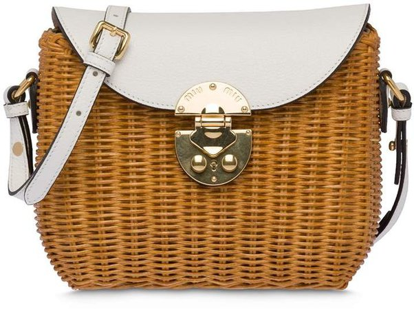 Wicker And Leather Shoulder Bag