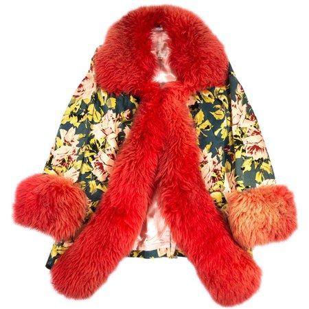 Vivienne Westwood red sheepskin and floral velvet jacket, fw 1994 For Sale at 1stDibs