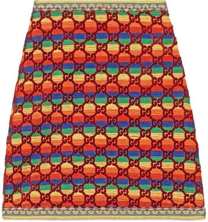 Gucci GG rainbow velvet skirt