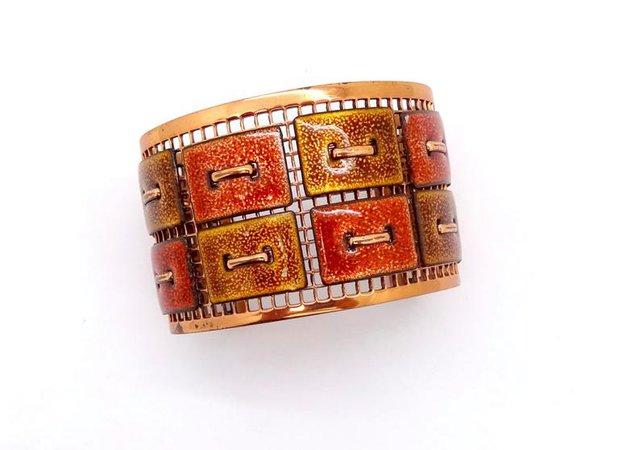 Vintage MATISSE COPPER CUFF Bracelet Signed Modernist | Etsy