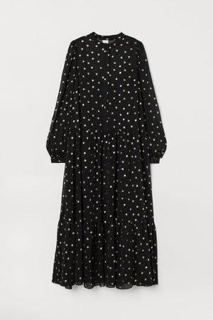 Puff-sleeved Chiffon Dress - Black