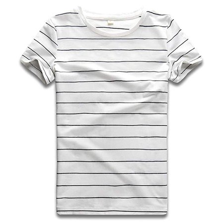 Striped T Shirt Women Crew Neck Short Sleeve Stripes Tee Top Black and White S at Amazon Women's Clothing store