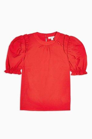 Red Textured Poplin Blouse   Topshop