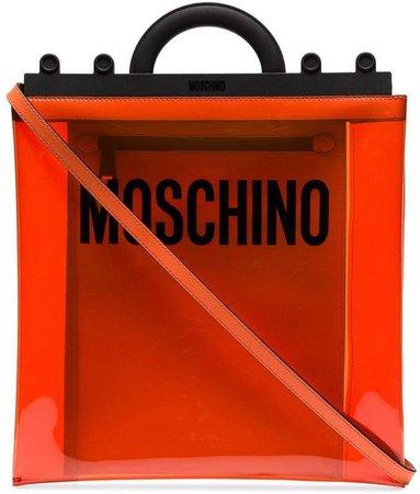 orange logo print PVC shoulder bag