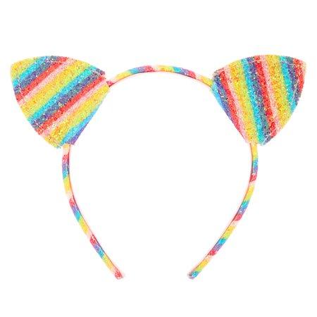 Claire's Club Rainbow Glitter Cat Ears Headband
