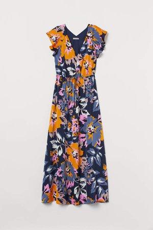 Long Butterfly-sleeved Dress - Blue