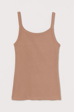 Ribbed Jersey Tank Top - Beige