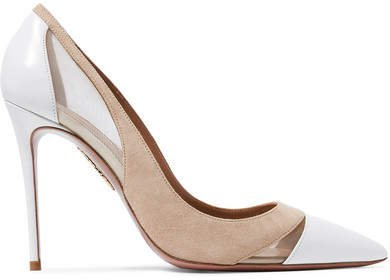 Savoy 105 Leather, Suede And Mesh Pumps - White