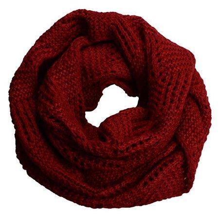 dark red knit circle scarf