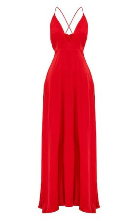 Red Extreme Split Strappy Back Maxi Dress | PrettyLittleThing USA